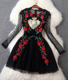 Embroidered Crochet Dress in Black