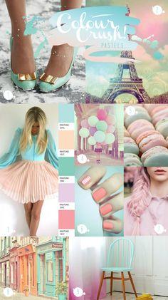 Colour crush: Pastels by Phillips-Barton Butler {Paperknots} Colour Pallete, Colour Schemes, Color Combinations, Color Palettes, Pastel Palette, Pastel Colors, Colours, Tie Dye Crafts, Different Shades Of Pink