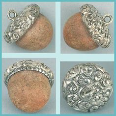 Antique Sterling Silver Acorn Chatelaine Pin Cushion Circa 1900 | eBay