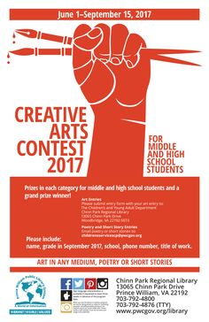 Poster promoting annual creative arts contest for teens.  This version of the poster was NOT used but I like it better than that one that was used.  Inspiration was taken from musicians at rock concerts holding their microphone or guitar over their head at the end of a set.  Artwork created from customizing stock art in Illustrator. Child Please, School 2017, Rock Concert, Stock Art, High School Students, Concerts, Creative Art, Musicians, Illustrator