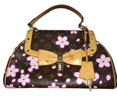 Louis Vuitton Rare Japanese Takashi Murakami Cherry Blossom Sac Retro Pm  Handbag Brown. Pink Satchel 5049564088fc