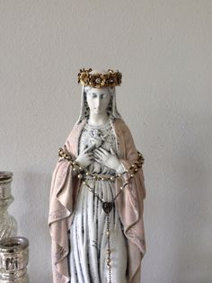 Large Antique Virgin Mary statue in french nordic by ShabbyHaus, $155.00may crowning inspired  French shabby French Nordic Jeanne d arc living inspired Virgin Mary Madonna Blessed Mother statue Catholic art icon statue figure sculpture pink gold crown of roses