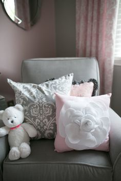 Love these pillows in this Gray and Pink nursery