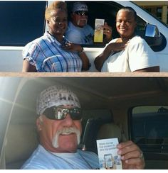 Hulk Hogan gets a jw.org tract from two brave sisters.
