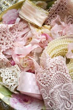 Shabby Cottage Chic lace crochet, pink, roses, pearls