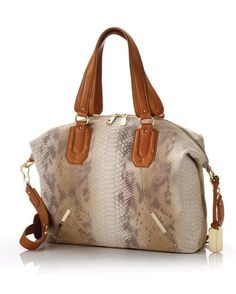 Annette Snake-Print Satchel - Brown