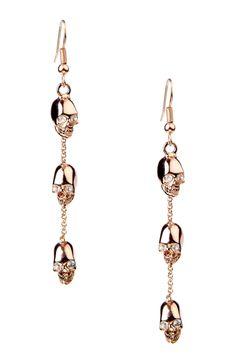 Rose Gold Skull Earrings