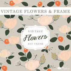 Vintage Flowers & Frame  Digital  Clip Art Set by ShhMakerDesign, $10.00