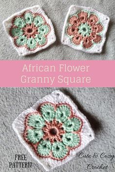 African Flower Granny Square Pin
