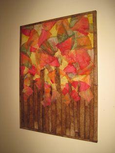 COFFEE FILTER ART- Fall Foliage - Wall Art Wall Hanging Canvas Ecofriendly Home Decor Wall  Decor.