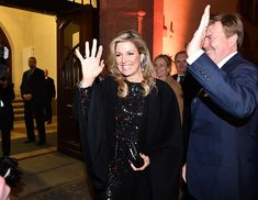 Dutch King Willem-Alexander and Queen Maxima attend an ofifcial dinner with the economic representatives at Congerss Hall on February 8, 2017 in Leipzig, Germany. Queen Maxima wore long sleeve sequin dress from Nina Ricci Fall 2015 collection.