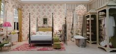 Nina Campbell design for Decorex 2011.  Bright pink reverse pleated chiffon lamp shade
