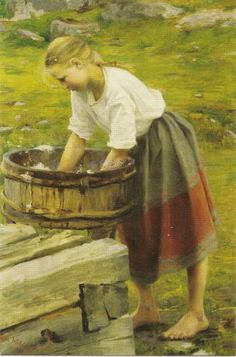By the Washbasin, 1892 - by Dora Wahlroos - Dorothée Augusta Henriette Wahlroos was Swedish-Finnish artist. Scandinavian Art, Women In History, Naive, Portrait Art, Oeuvre D'art, Art World, Les Oeuvres, Norway, Art For Kids