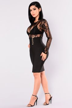Leave A Trace Bandage Dress - Black