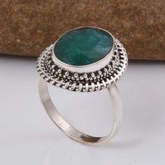 EMERALD 925 SOLID STERLING SILVER FASHION RING 4.65g DJR5746 #Handmade #Ring