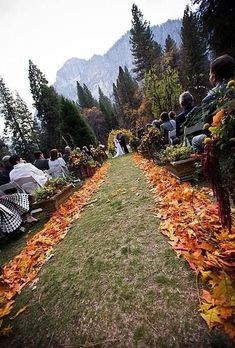 Love the borders to the aisle, but would have more than just one color leaf. Throw in reds and gold, too.  #wedding #aisle #AutumnWeddingIdeas