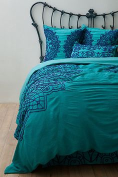 (from the Anthropologie Solea Bedding Collection in Dark Turquoise). One Solea King Duvet Cover. This duvet cover was put on a bed for open house showings only for a few weeks. Dream Bedroom, Home Bedroom, Master Bedroom, Bedroom Decor, Bedrooms, Bedding Decor, Dorm Bedding, My New Room, My Room