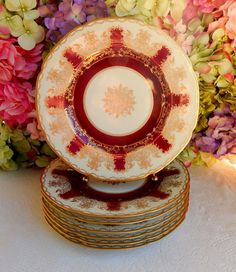 7 Gorgeous Hutschenreuther Porcelain Plates ~ Red ~ Gold Encrusted ~ Medallion…