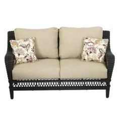 Hampton Bay Woodbury All-Weather Wicker Patio Loveseat with Textured Sand Cushion DY9127-LV at The Home Depot - Mobile