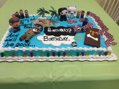 Haley's Fangirl Birthday Cake! Fandoms Represented: Supernatural, Merlin, Dr Who, Sherlock, Game of Thrones, Lord of the Rings, The Fault in Our Stars, Lost, Big Bang Theory, The Walking Dead, music from Kansas and Emily Kinney....and Gummy Bears of course! Check out Makings from Mommyland on Etsy, Facebook and Instagram for the adorable Supernatural and Merlin peg people!