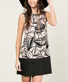 Love this Blush & Black Leaf Shift Dress on #zulily! #zulilyfinds