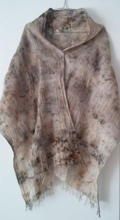 Cotton crepe  shawl - eco dyeing, hand made, eco printing,  modern, unique, new, ready to ship by EcoDyeing on Etsy