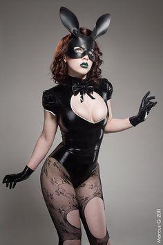 Bunny leather mask in black. $65.00, via Etsy.