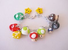 """I love this..because I love the cute little mushrooms! LOL!!  """"Super Mario Brothers Themed Polymer Clay Charm Bracelet-MADE TO ORDER""""         MooshCreations      Cute, Fun, Kawaii"""