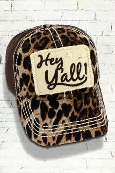 LEOPARD AND BROWN DISTRESSED  HEY Y ALL!  CAP 85361012b180