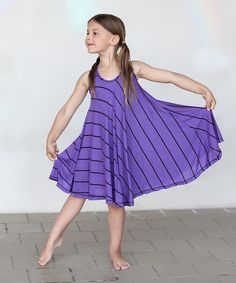 Look at this #zulilyfind! Purple & Black Stripe Twirl Dress - Girls by Buckleberry Kids #zulilyfinds