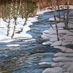 Etude pour Ducktrap Bleu, huile sur toile de Neil Gavin Welliver (1929-2005, United States)