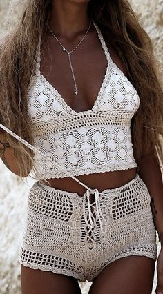 Crochet top and shorts