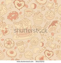 Seamless vector hand drawn background with sweets, tea, cupcake, coffee and donuts - stock vector