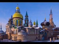 Temple of All Religions in Kazan, Russia. It consists of many types of religious architecture such as an Orthodox Church, a mosque and a synagogue, among others. Russian Architecture, Religious Architecture, Singapore Architecture, Religion In Russia, Oh The Places You'll Go, Places To Visit, Turkey Places, Pakistan Travel, Dubai