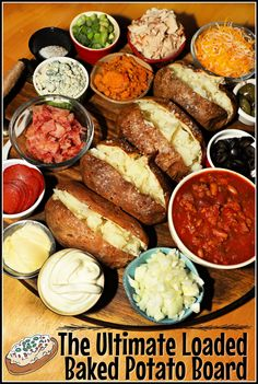 This loaded baked potato board is a family friendly meal idea that is fun to serve on game day and on busy weeknights. Serve it charcuterie style on a lazy susan board with toppings, seasonings, and dips and enjoy a delicious spread everyone will love to dig in to! Potato Dishes, Potato Recipes, Veggie Recipes, Food Dishes, Snack Recipes, Healthy Recipes, Sweets Recipes, Healthy Food, Easy Family Meals