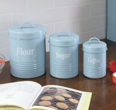 Ice blue canisters