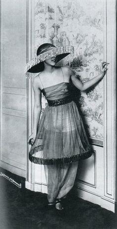 Denise Poiret dressed for the opening night of Le Minaret. 1913