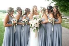 Bridesmaids in Henkaa's Sakura Convertible Dresses and Hana Chiffon Overlays in Dove Grey. Jenn Kavanagh Photography