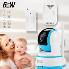 Surveillance Onvif IP Camera WiFi + PIR Infrared Motion Sensor + Gas Detector Automatic Alarm Security Camera Wireless BW13B