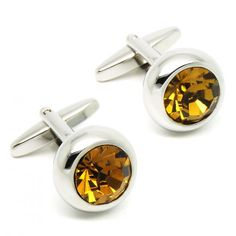 Romance Yellow  Crystal Round Cufflinks for men