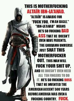Altair from Assassins Creed! My favourite Assassin thus far :) Assassin's Creed I, Dragon Age, Skyrim, Assassins Creed Quotes, Assassin's Creed Wallpaper, Connor Kenway, All Meme, Leap Of Faith, Pinstriping
