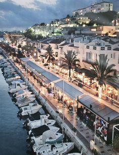Promenade night in Sitges, Catalonia_ Spain