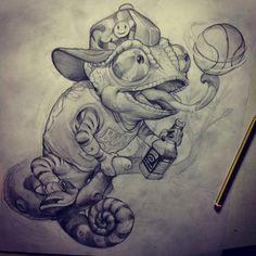 Lizard Boy Tattoo Sketch