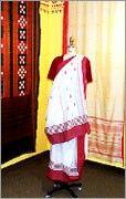 Red White Bengali saree cotton