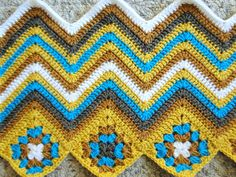I think this is just so smart and fun!  A modern approach to the granny square afghan.