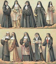 Ropajes medievales de monjas