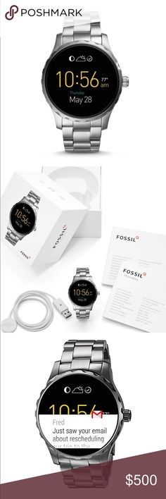 FOSSIL Q MARSHAL GEN2 GUNMETAL SMART WATCH -NEW! PRODUCT DETAILS Activity Tracking: Built In Fitness Tracker Notifications: Social Media / Text / Email / App Alerts / Multiple Time Zones / Alarm Clock / Calendar Alerts Functions: Personalize Your Dial / Control Your Music / Voice Activated Google / LED Flashlight / Google Maps Enabled / Interchangeable Watch Band Connectivity: Bluetooth® Smart Enabled / 4.1 Low Energy, Wi-Fi 802.11 b/g/n - Powered by Android Wear™ Compatibility: Android™…