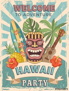 Stock Image: Design template of retro poster invitation for hawaiian party Luau Party Invitations, Party Banner, Vintage Invitations, Hawaiian Invitations, Aloha Party, Hawaiian Luau Party, Tiki Party, Luau Theme Party, Retro Poster