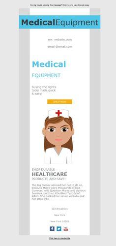 El diseño responsive se adapta a todos los dispositivos (móviles, tablets, ordenadores...) Por ello, la venta al por mayor de equipos y suministros médicos también se ajusta con estas plantillas newsletter pensadas para ti.