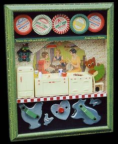 """The beginning of a new love affair. Shadow box/still life/vignette...  Titled: """"Anyone for milk and cookies?"""""""